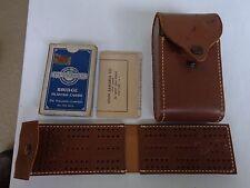 Vintage John Samuals Leather Traveling Cribbage Set w/ Pullman Playing Cards