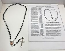 "BLACK MOURNING BLESSED SACRED HEART JESUS ROSARY 27"" RELIGIOUS PRAYER WITH GUIDE"