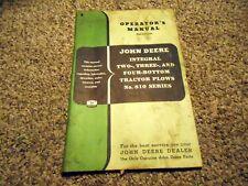 John Deere Integral 2-3 & 4- Bottom Tractor Plows Operator's Manual #810 Series