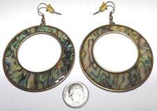 Vintage Abalone Shell Antique Gold tone BIG Hoop Dangle Earrings