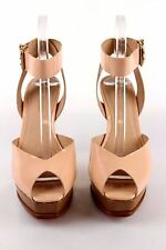 Pour La Victoire - Beige Nude Peep Toe Ankle Strap Heel Platform Shoes - Size 9