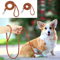 4ft Braided Leather Dog Leash Pet Dog Training Leash for Small Puppy Dogs Yorkie