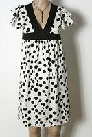 6c74c591fc7a3 Kleid Gr. 34 weiß mit schwarzen Punkten Polkadot Babydoll Kurzarm Kleid