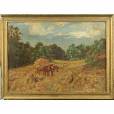 Old Original Framed English Impressionist Oil Painting Harvest Stooks and Horses