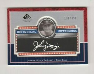 2003  Upper Deck SP Legendary Cuts #L-JM Johnny Mize Patch Collection 130/350