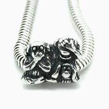 SEE HEAR SPEAK no evil- 3 Monkeys-Solid 925 sterling silver European charm bead