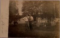 Real Photo Postcard RPPC  Two Affectionate Men Near River In Maine Gay Interest