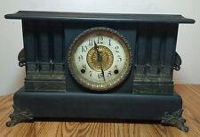 Antique E. INGRAHAM Mantel Clock - Black Wood Finish - Pillars - Working Repair