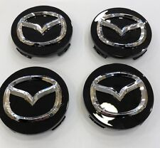 4x 56mm BLACK MAZDA ALLOY WHEEL HUB CENTRE CAPS - FITS MAZDA 2, 3, 5 & 6