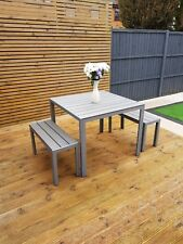 QUALITY Grey Gardenfurniture Aluminium and poly wood 2 benches 1 Table