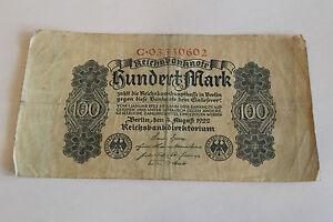 Reichsbanknote hundert mark 100 Mark C*03330602