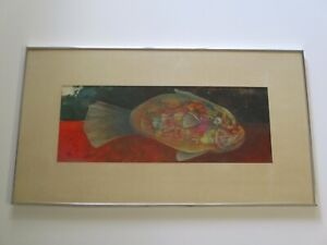 CASTELLANO  PAINTING  COLORFUL  FISH RARE SURREALISM MODERNISM EXPRESSIONISM