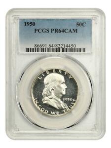 1950 50c PCGS PR 64 CAM - Rare Cameo Proof - Franklin Half Dollar