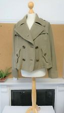 BURBERRY BRIT Casual Ladies Short Green Trench Jacket, Wool/Cotton Mix, Size 14