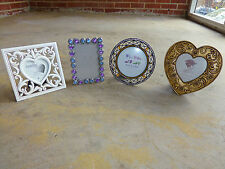 Lot of 4 Vintage 80s Unique Heart Round Jeweled Picture Photo Frames