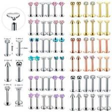12PCS CZ Lip Studs Labret Rings Earrings Monroe Stud Body Piercing Jewelry 16G