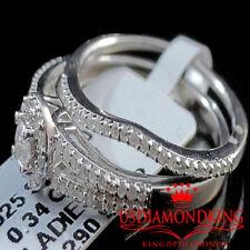 WOMENS LADIES GENUINE DIAMOND WHITE GOLD FINISH DUO WEDDING BRIDAL RING BAND SET