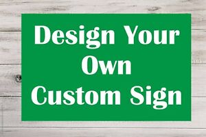 Personalised GREEN Plastic Sign Custom Made Board Indoor Outdoor Use Text Colour