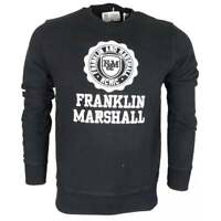 Franklin & Marshall Cotton Round Neck Crest Logo Black Sweatshirt