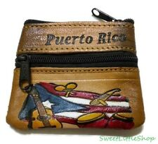 ALL LEATHER GUITAR FLAG TOOLED SMALL CHANGE COIN PURSE WALLET FROM PUERTO RICO