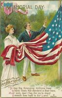 MEMORIAL DAY - Chapman Signed Woman and Man Hoisting Flag - 1909