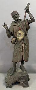 "LG 23"" Antique 1920's Old ORIENTALIST Bronzed BEDOUIN MUSICIAN STATUE Sculpture"