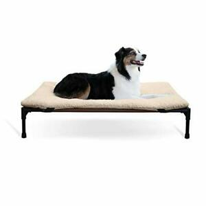 K&H PET PRODUCTS Original Elevated Pet Cot Tan with Microfleece Pad