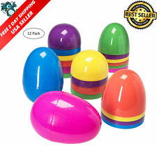 Jumbo 7 Inch Assorted Colors Easter Eggs 12 Giant Un-hinged Plastic Easter Eggs
