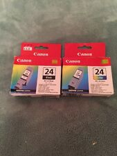Canon BCI-24 Ink Cartridges Tri-Color & Black GENUINE NEW 2 total
