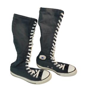 Converse All Star Knee High Zip Canvas XXHi Sneakers Black 1V708 Womens 9 Mens 7