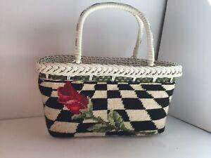 Vintage Wicker Basket Purse Handbag Embroidered Needlework Floral Rose White