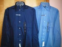 NWT NEW mens navy blue CROFT & BARROW classic l/s wrinkle resistant dress shirt