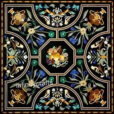 42 Inches Square Shape Marble Kitchen Table Black Dinning Table Pietra Dura Art