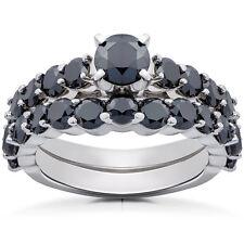 2.25 Ct Black Round Cut Diamond Fine Engagement & Wedding Ring Set In 925 Silver