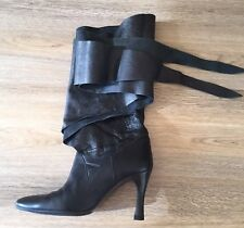 Jill Stuart Very Dark Brown wrap up Leather Boots Size 38IT