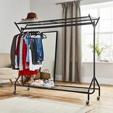 6ft long x 5ft Black Heavy Duty Hanging Clothes Shoes Hat Garment Rail