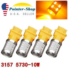 4x 3157/3156 Amber/Yellow High Power 10W LED Turn Signal Sider Marker Light Bulb