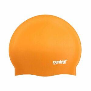 Central 100% Silicone Adult Swim Swimming Cap - Orange - New