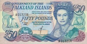 Vintage Banknote Falkland Islands Crisp AU/UNC 1990 50 Pounds Pick 16a US Seller