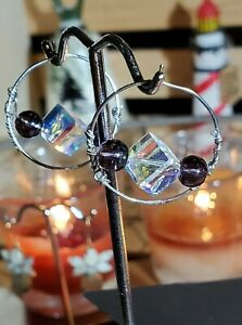 Amethyst And Iridescent Crystal Bead Thin Wire Hoop Earrings