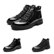 Mens High Top Faux Leather Work Ankle Boots Shoes Business Formal Shiny Casual L