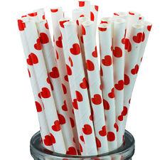 Red Hearts On White Paper Straws x25 retro cakepop sticks vintage drinking