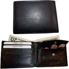 2 New Men's bi-fold Leather Wallet 7 credit card ID Change purse 2 billfold BN