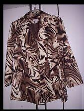 Sz 1X Susan Graver Jacket  Brown Animal Swirl Print Lined Pockets  LS New  1X