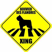 """BOUVIER DES FLANDRES XING CROSSING ROAD SIGN 5"""" DOG SILHOUETTE STICKER"""