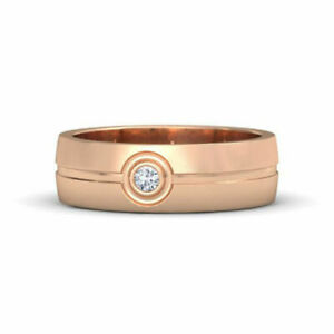 0.09 Ct Natural Diamond Engagement Ring 14K Solid Rose Gold Mens Band Size S T V