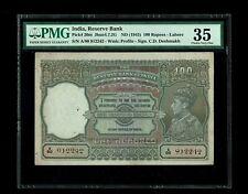 British India | 100 Rs (1943) , Lahore, C.D.Deshmukh | PMG-35 | P20m