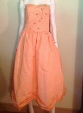 VTG 60s PARTY DRESS Strapless Tangerine Moire Taffeta Rosebuds Draped MIDI Hem