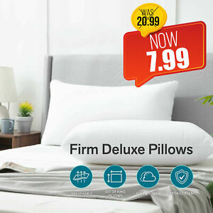 Pack of 2 Extra Filled Pillow Hotel Quality Firm Deluxe Soft Pillows Sleep Night