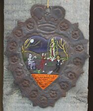 Tin Milagro Ex Voto Painting Saved from Evil by Guadalupe Mexican Folk Art